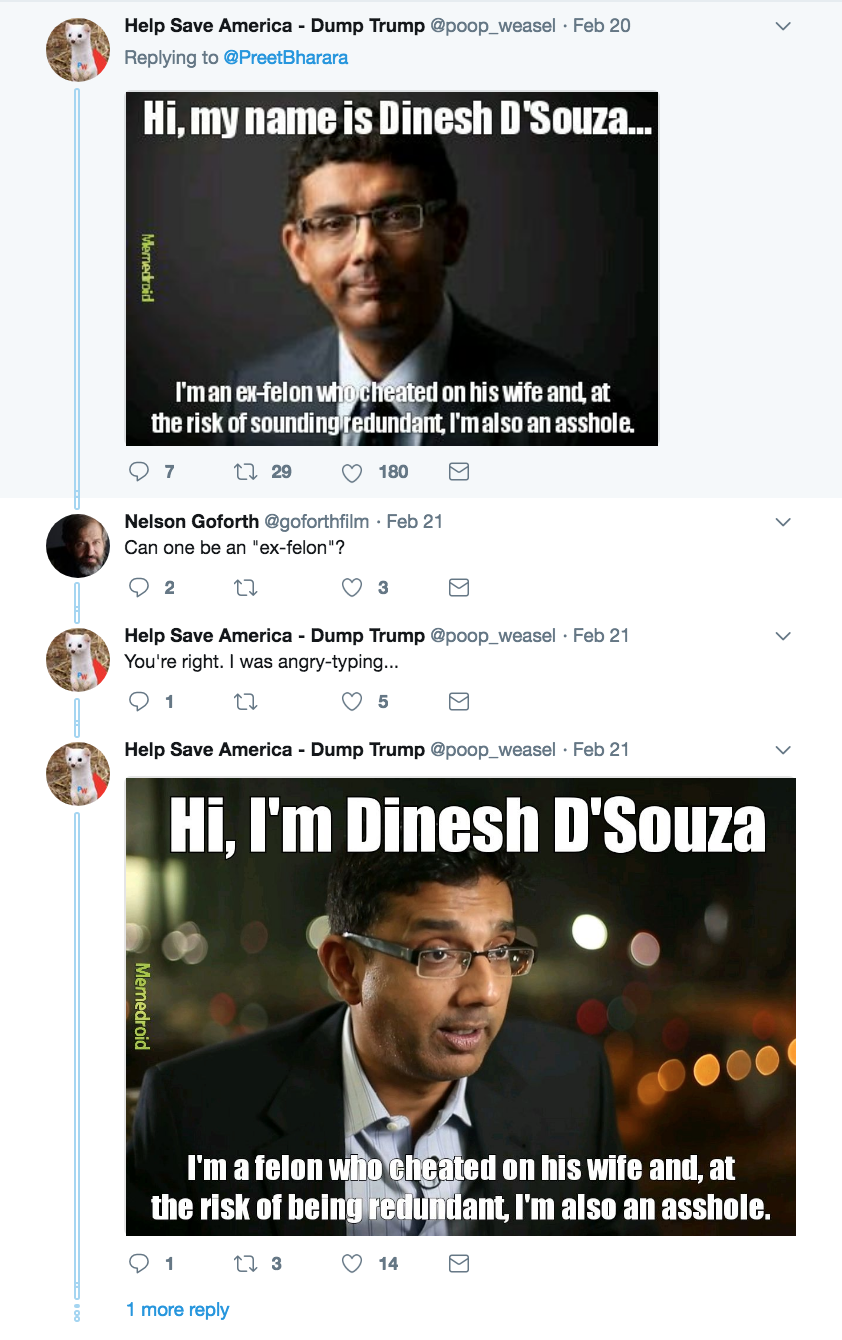 Gun control tweet responding to a horribly insensitive tweet from felon Dinesh D'Souza. Thoughts and Prayers. marchmatron.com