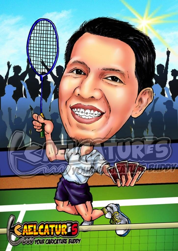 Kaelcatures Caricature For Badminton Enthusiast
