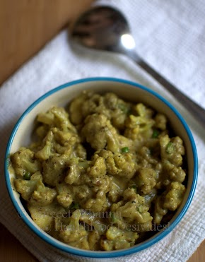 low fat gobhi methi malai (?) curry | a cauliflowers and potato curry with cashew nut paste...