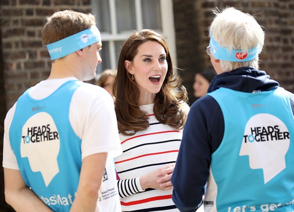 Kate Middleton wore Muvi Pullover stripe tops and sweaters. Kiki McDonough Citrine Pear Drop Earrings, Superga Cotu Sneakers