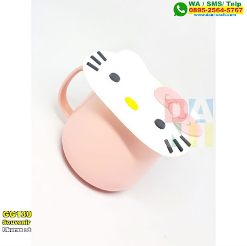 Souvenir Cangkir Set Tutup Hello Kitty
