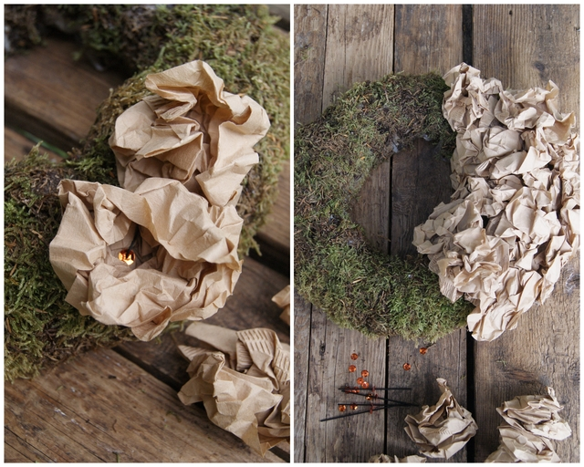 DIY Mooskranz mit geknäuelten Filtertüten dicht bestecken