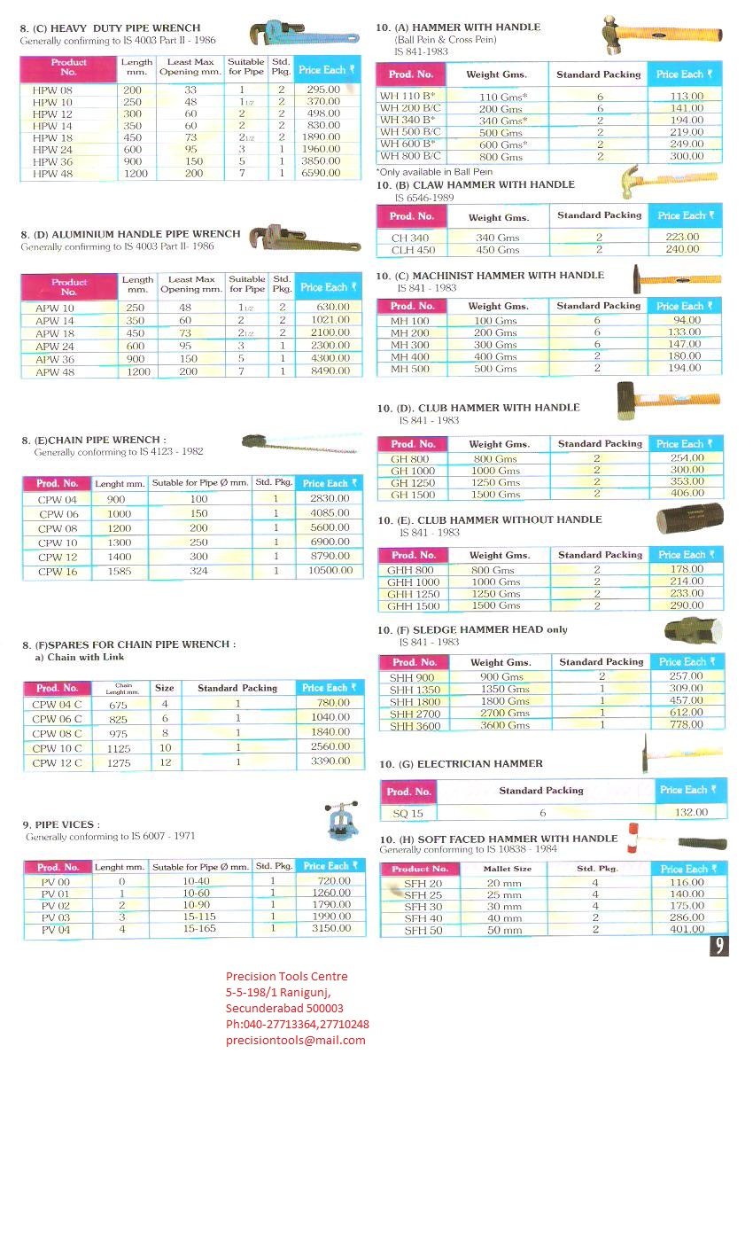 taparia price list