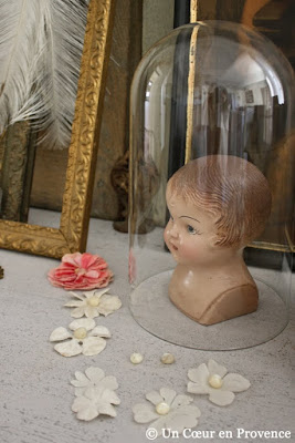 Doll's head placed under an old globe