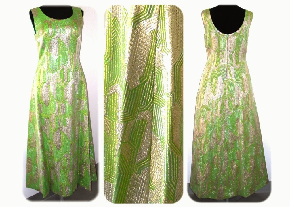MeAndTheMajor  VENDIDO - Vestido años 60 en verde y lamé oro y plata 7f61adab1412