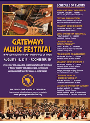 Gateways Music Festival in Association with Eastman School of Music, Rochester, New York, August 8-13, 2017; Professional Classical Musicians of African Descent