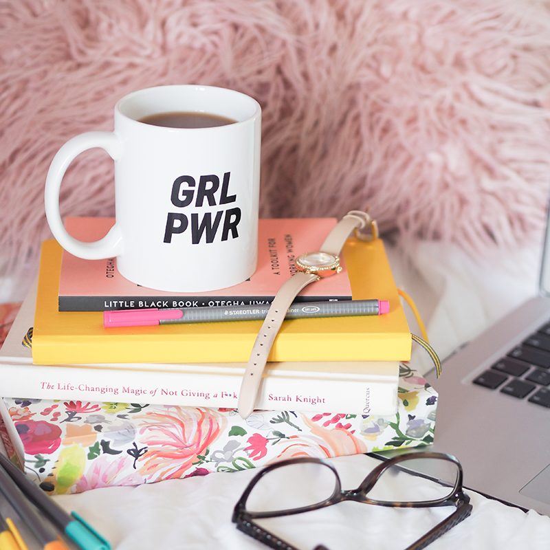 Grl Pwr Mug on stack of books | Colours and Carousels - Scottish Lifestyle, Beauty and Fashion blog