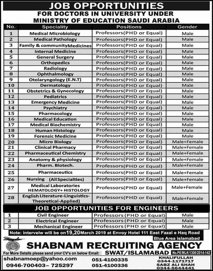 Teaching Faculty Required at Ministry of Education Saudi Arabia