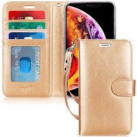 "FYY Case iPhone Xr (6.1"") 2018, [Kickstand Feature] Flip Folio Leather Wallet Case ID Credit Card Pockets iPhone Xr (6.1"") 2018 Gold"