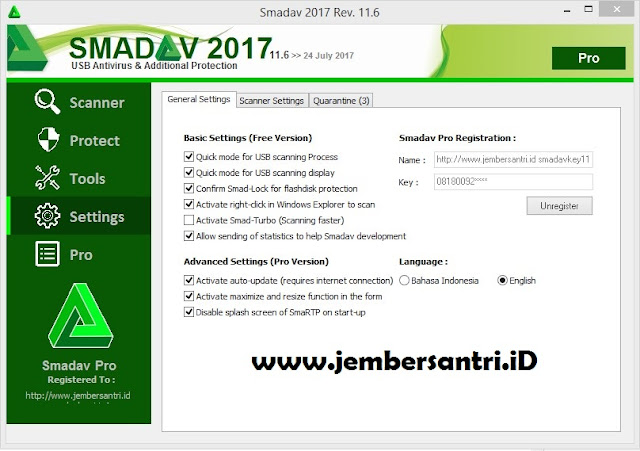 Download Smadav Pro Rev 11.6 Full Free Serial Number Key Terbaru Agustus 2017