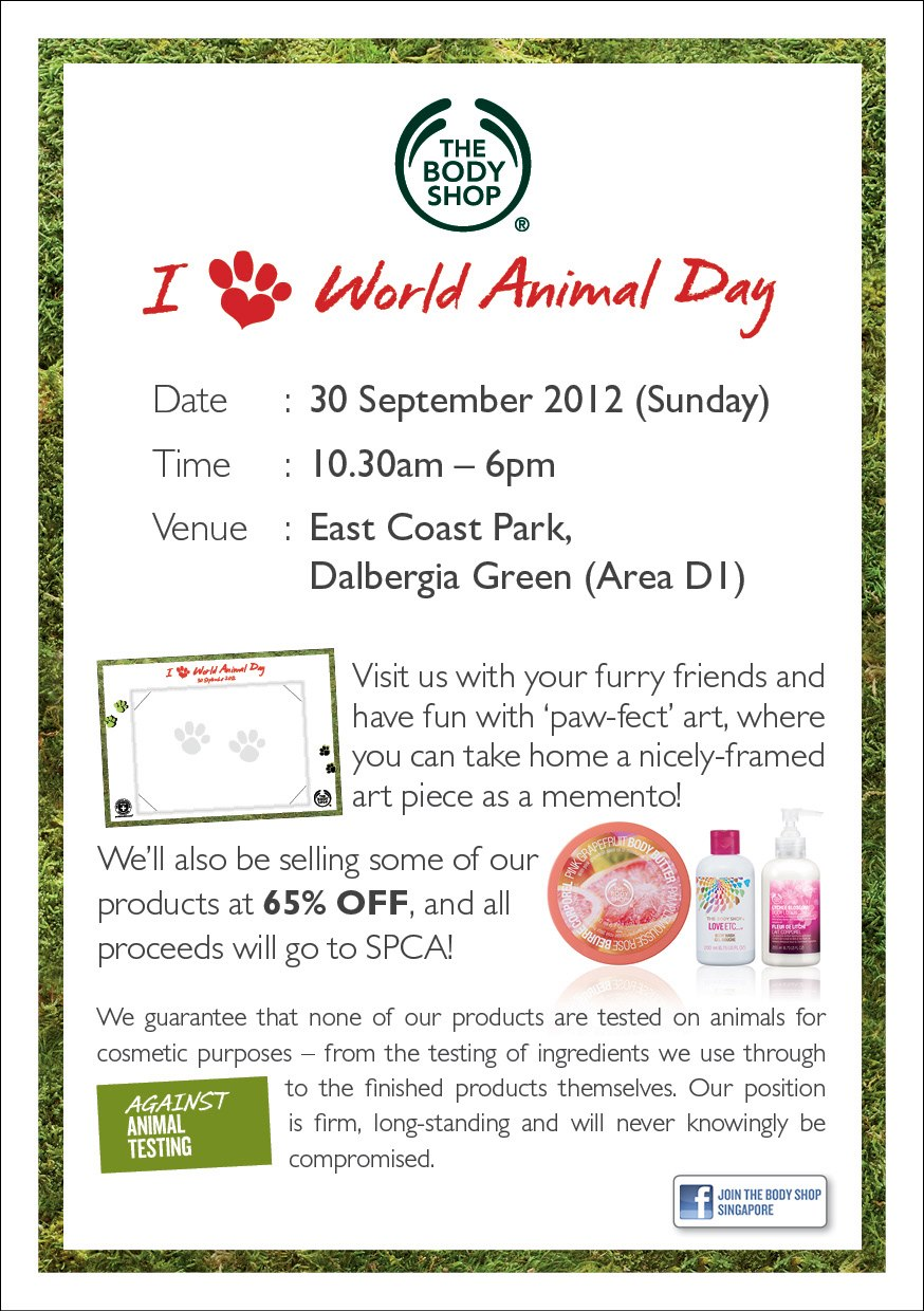Flyers Advertising The Body Shop Fund Raising On World Animal Day 30 Sept 2012
