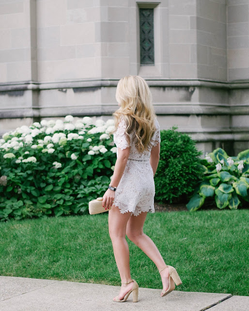 white lace romper and steve madden carrson sandals