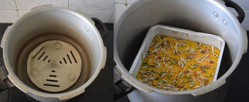 mango sooji cake in cooker