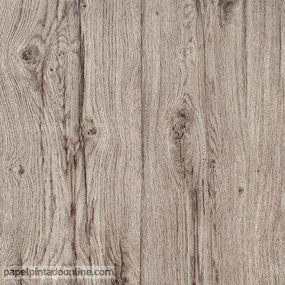 Papel para forrar paredes imitación a madera en color marron grisaceo ref. 6357-38