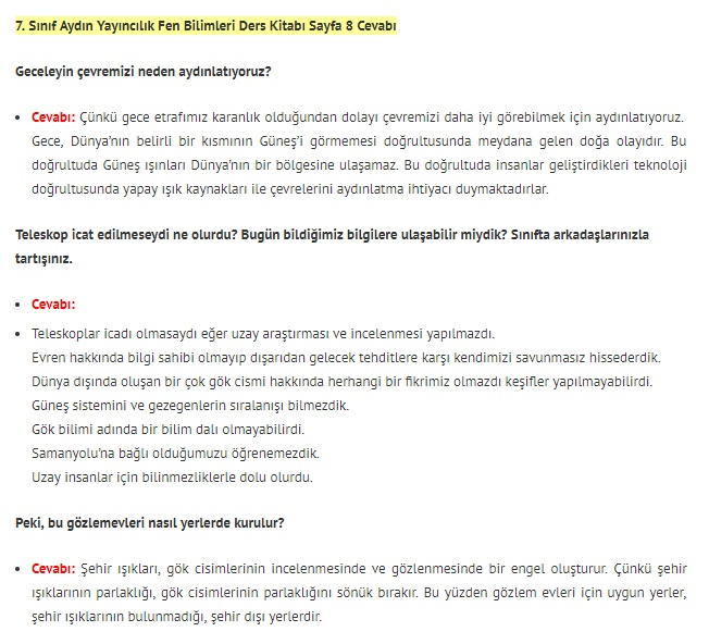 7. Sınıf Fen Bilimleri Ders Kitabı Cevapları Aydın Yayınları SAYFA 8