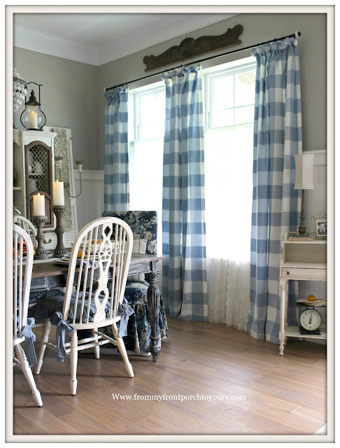 french farmhouse dining room-French COuntry-DIY-Buffalo Check Curtains-blue and white-from my front porch to yours