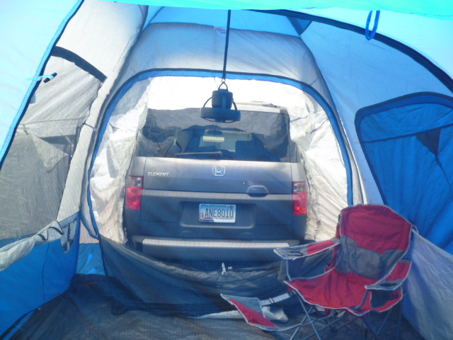 Inside the SUV tent with the butt of my Element. & The Camping Chronicles.: Gimme Shelter: The Many Tents of Tracy.