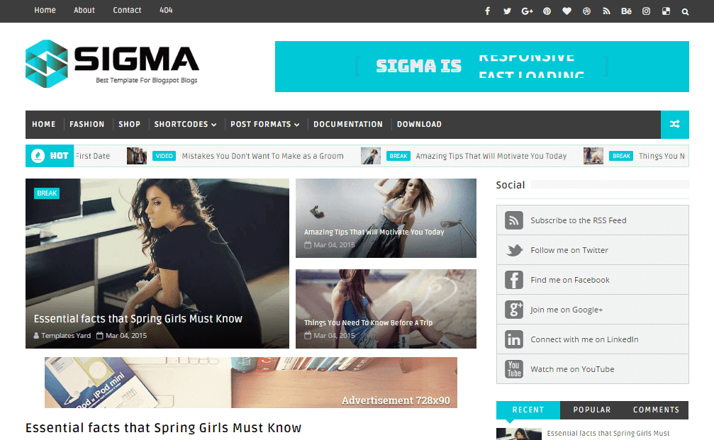 Sigma Blogger Template
