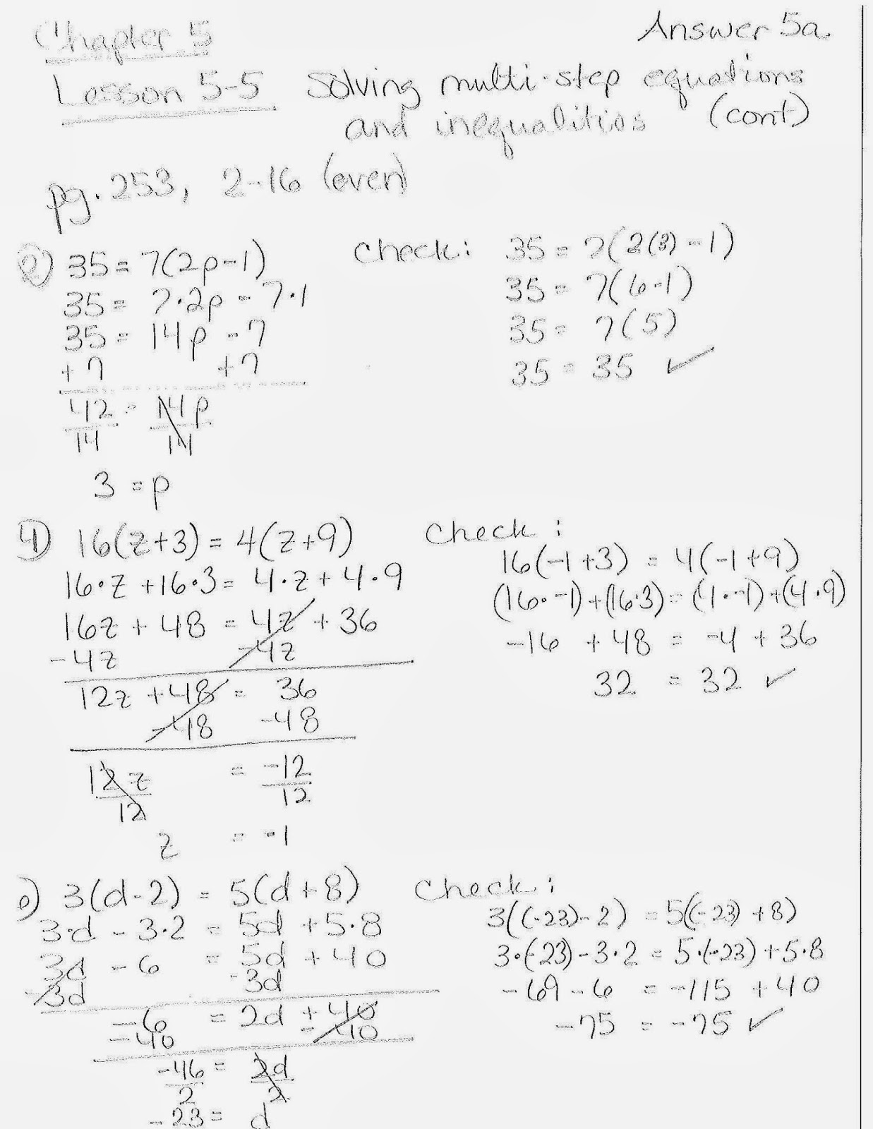 Solving Multi Step Equations Answers