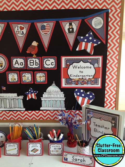 Americana Classroom Decor ~ Patriotic themed classroom ideas printable