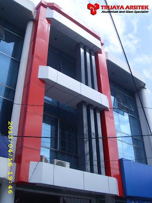 Aluminium Composite Panel, Curtain Wall, Letter Galvanil, Pintu Frameles, Proyek Surabaya,
