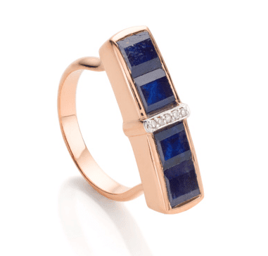 Monica Vinader Semi-Precious Gemstone Blue Sapphire Baja RIng