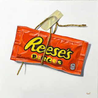 trompe l'oeil painting of reese's pieces candy