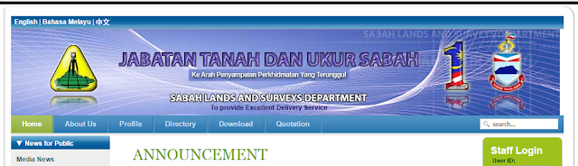 Rasmi - Jawatan Kosong (JTU Sabah) Jabatan Tanah Dan Ukur Negeri Sabah 2019