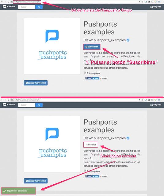 Agregar suscripción en pushports web