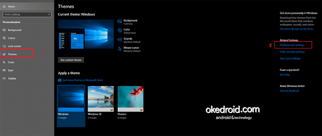 Pilih Themes > Desktop icon settings Windows 10