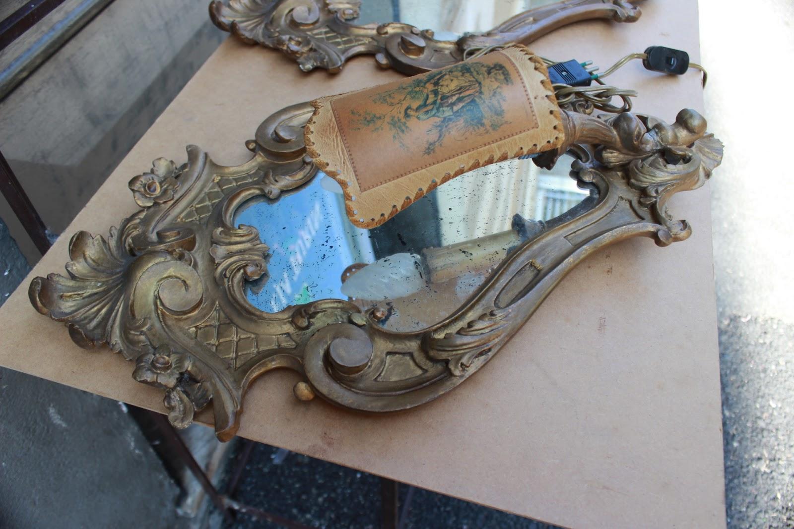 Antiche coppia di applique specchiere ventoline in legno scolpito