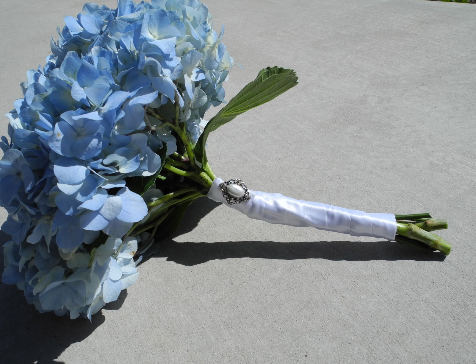 We Went With A Blue Hydrangea Bouquet For The Photo Session Little Silver And Pearl Brooch
