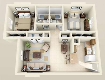 Diện tích căn hộ Vinhomes Gallery Giảng Võ có 2-3 phòng ngủ.