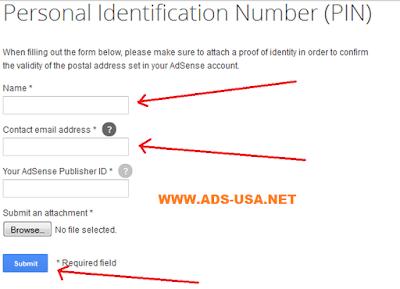 kirim dokumen Google AdSense US