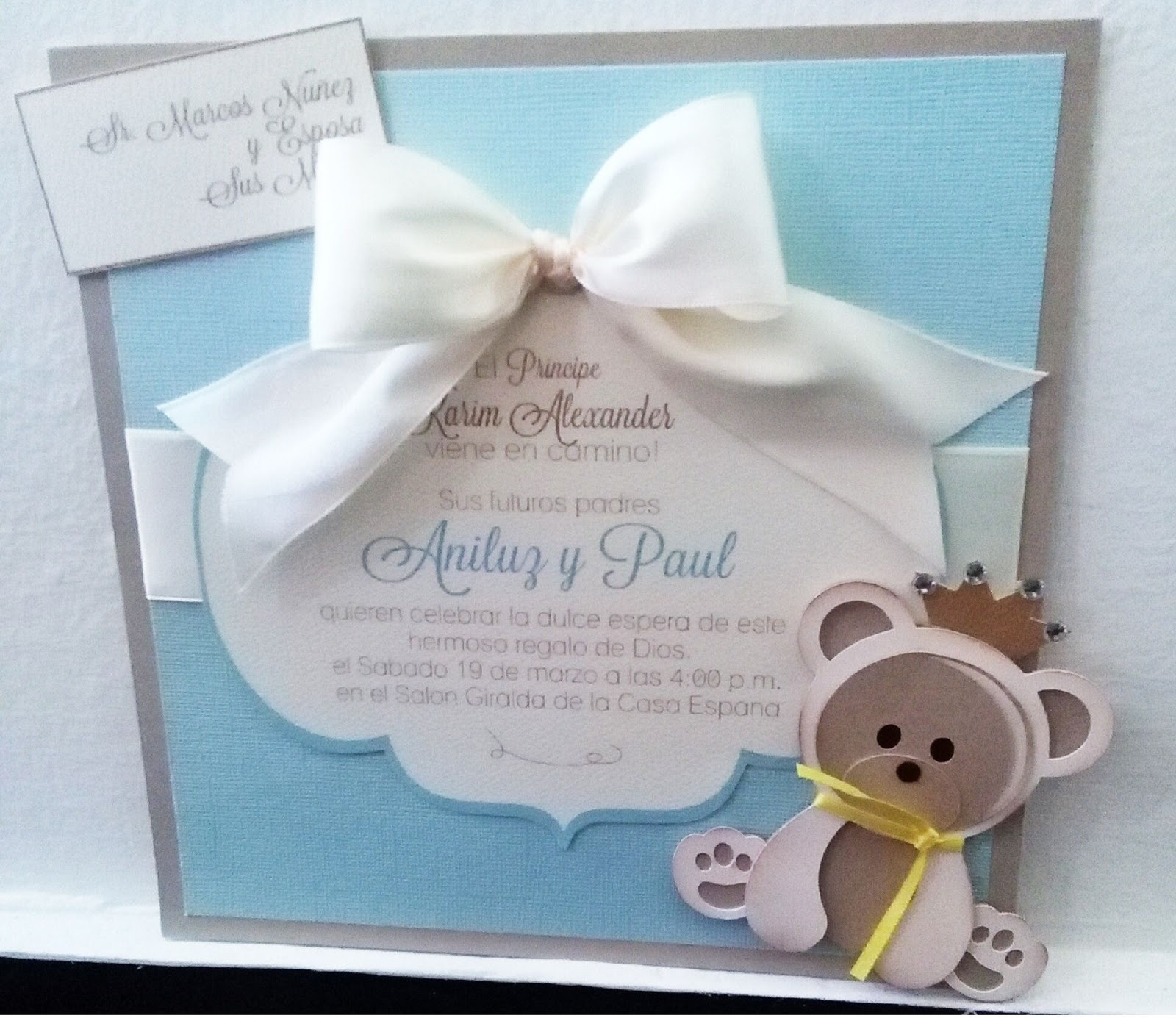 Mis Creaciones by Patricia Chalas Bear Baby Shower Invitations