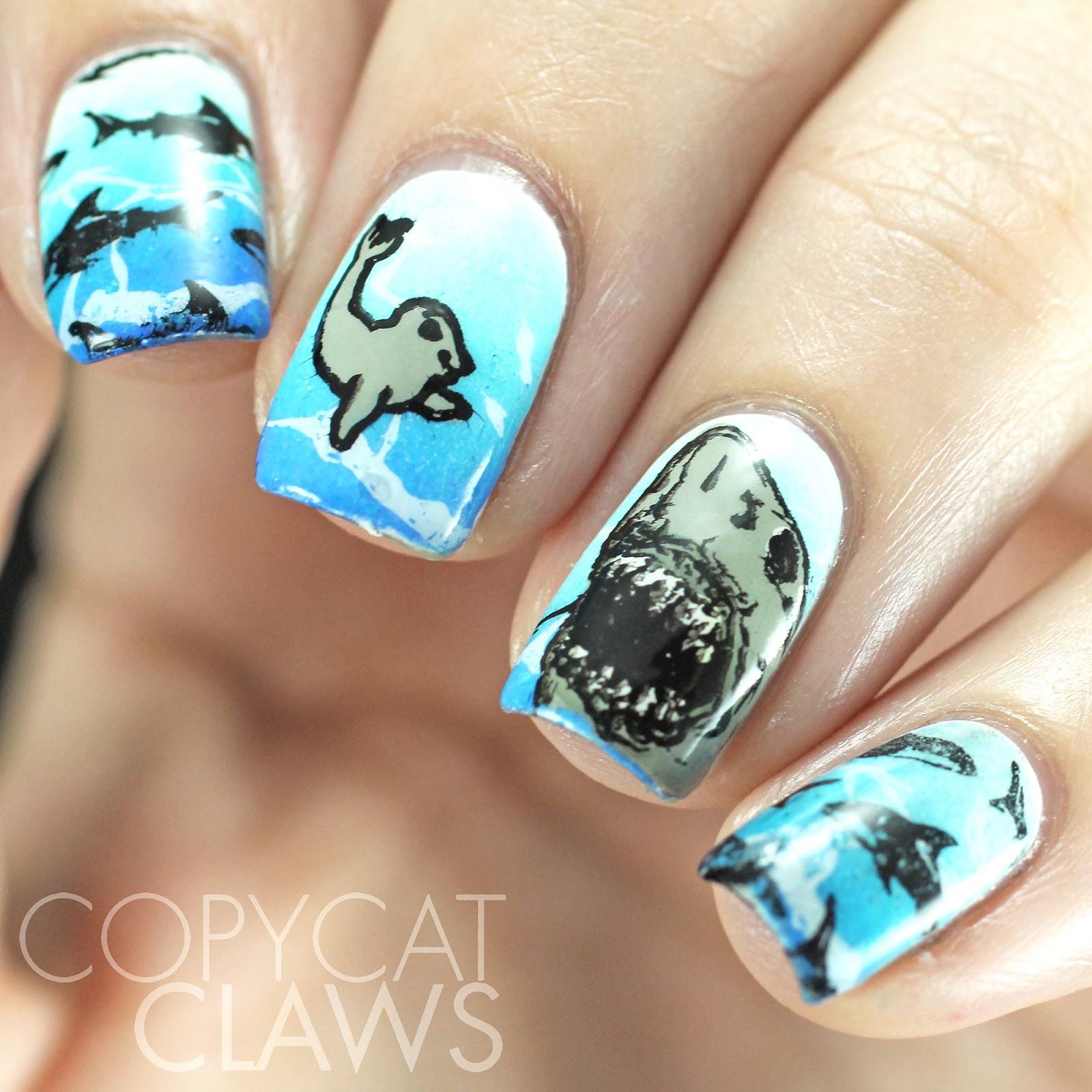 Copycat Claws: Shark Week Nail Stamping