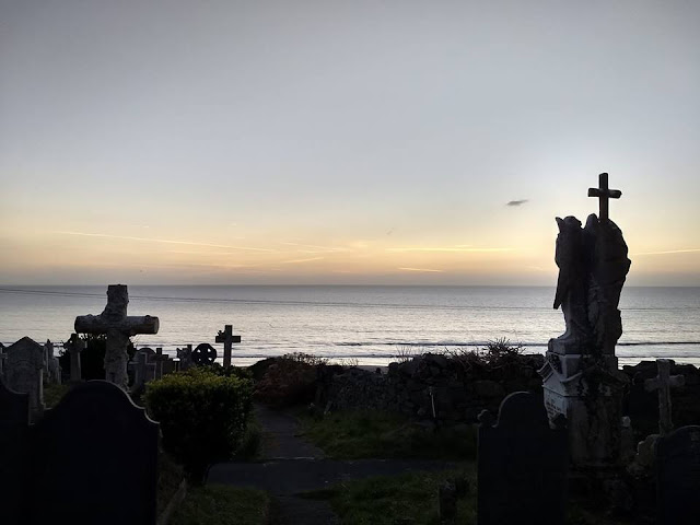 sunset in the churchyard