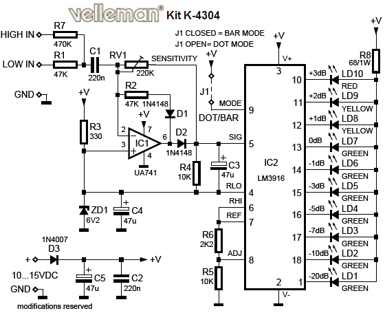 free electronic circuit collection  vu led indicator schematic