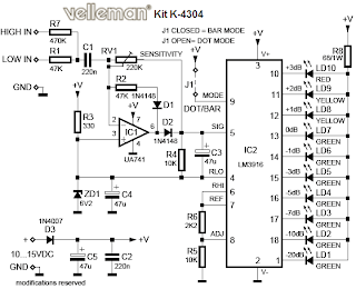 Free Electronic Circuit Collection: VU LED Indicator Schematic
