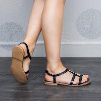 Sandale dama Piele Ronde albastre cu talpa joasa (modlet)