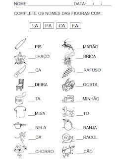 Atividade 2 para completar a sílaba inicial. Alfabetização.