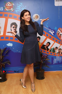 Actress Mannara Chopra Stills in Blue Short Dress at Rogue Song Launch at Radio City 91.1 FM  0089.jpg