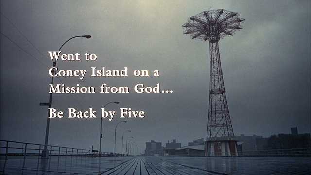 Went to Coney Island on a Mission from God...Be Back By Five title card