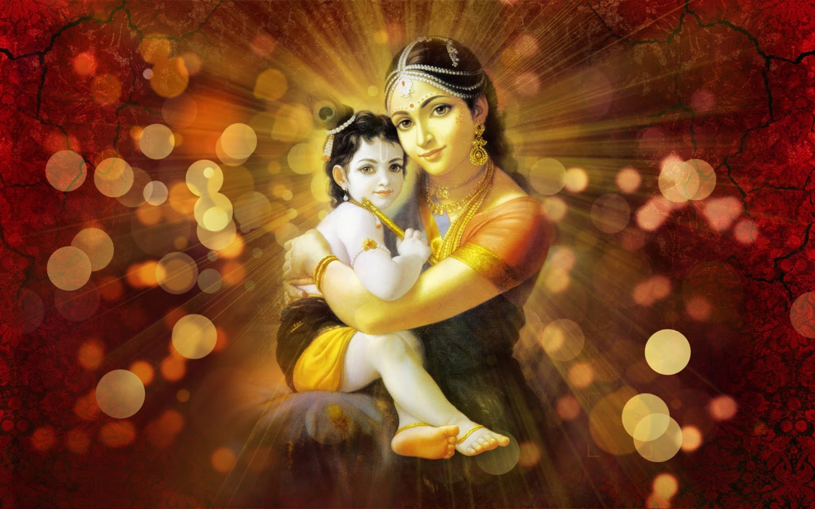 Bal Krishna With Maiya Yashoda Poster For Room Paper Print Bal Gopal