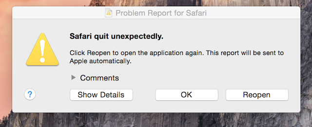 Safari quits unexpectedly error