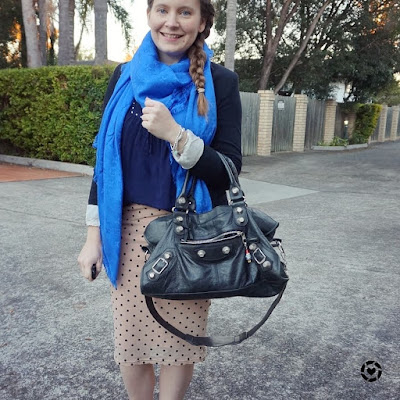 awayfromtheblue instagram louis vuitton monogram shawl in bleu pink polka dot pencil skirt