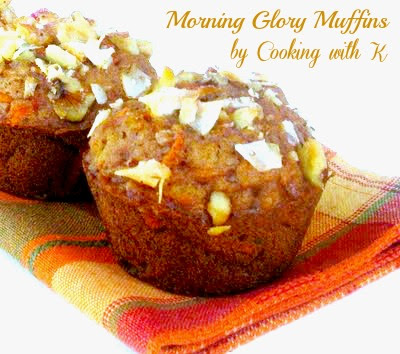 Pure joy is what describes these Morning Glory Muffins. What else could they be described as with all these yummy ingredients -- carrots, apples, sweetened coconut, golden raisins, walnuts, and cinnamon.