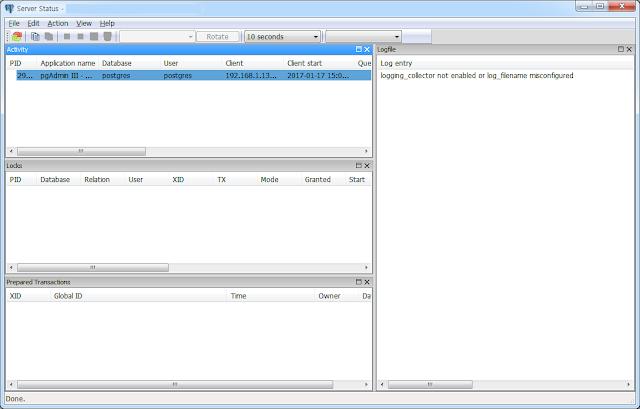 묵묵부답 상태인 pgAdmin3의 Server Status