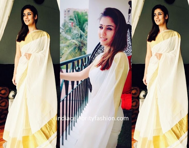 Nayanthara in Kasavu Saree for Onam