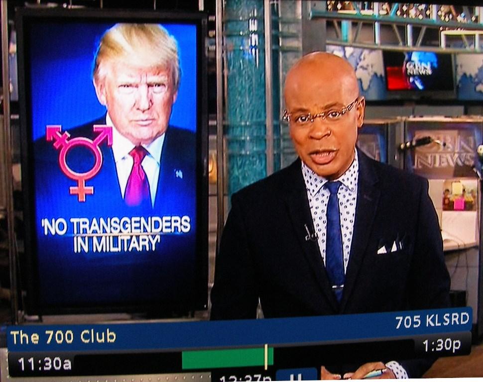 Trump's transgender ban on 700 Club CBN news Jul. 26, 2017 10:37AM PT